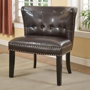BestMasterFurniture Faux Leather Living Room Barrel Chair (Set of 2); Espresso