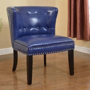 BestMasterFurniture Faux Leather Living Room Barrel Chair (Set of 2); Navy Blue