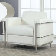 BestMasterFurniture Modern Arm Chair with Chrome Frame; White