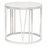 Nuevo Roman End Table; White / Polished Stainless Steel
