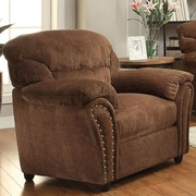 A&J Homes Studio Velvet Arm Chair; Dark Brown