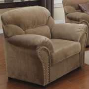 A&J Homes Studio Velvet Arm Chair; Light Brown