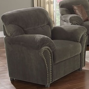 A&J Homes Studio Velvet Arm Chair; Olive Gray