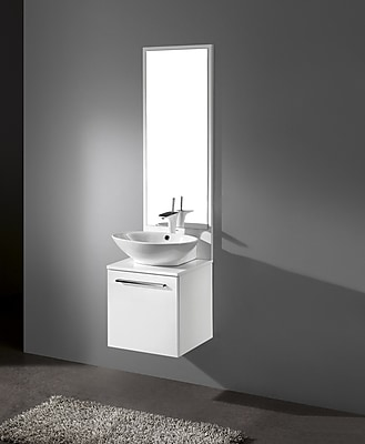Madeli Alassio 17'' Single Bathroom Vanity Set with Mirror; Glossy White