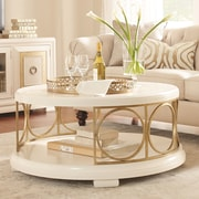 Legacy Classic Furniture Tower Suite Coffee Table; Pearl and Gold Tone Accents