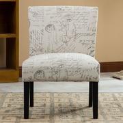 Roundhill Furniture Botticelli English Letter Print Fabric Slipper Chair