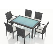 Harmonia Living District 7 Piece Dining Set with Cushions; Canvas Natural