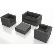Harmonia Living District 4 Piece Deep Seating Group with Cushions; Canvas Charcoal