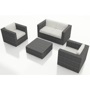 Harmonia Living District 4 Piece Deep Seating Group with Cushions; Canvas Natural