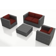 Harmonia Living District 4 Piece Deep Seating Group with Cushions; Canvas Henna