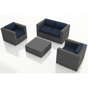 Harmonia Living District 4 Piece Deep Seating Group with Cushions; Spectrum Indigo