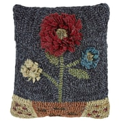 Homespice Decor Moon Flower Hooked Wool Throw Pillow