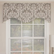 RLF Home Royal Damask Cornice 50'' Curtain Valance; Taupe Gray