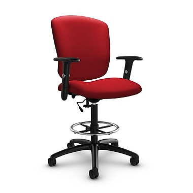 Global® (5338-6 IM74) Supra-X Drafting Task Chair, Imprint Candy Apple Fabric, Red