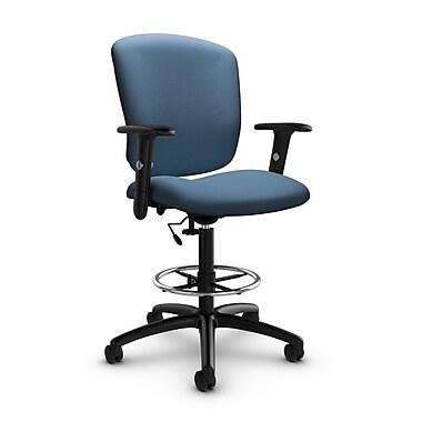 Global® (5338-6 IM75) Supra-X Drafting Task Chair, Imprint Ocean Fabric, Blue