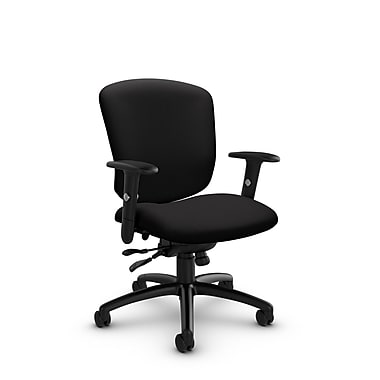 Global® (5336-1 IM84) Supra-X Synchro Tilter Chair, Imprint Licorice Fabric, Black