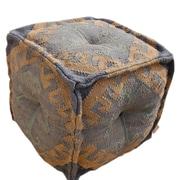 Divine Designs Wool Jute Square Pouf Ottoman