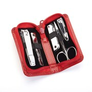 Royce Executive Chrome Plated Mini Manicure Kit in Leather, Red