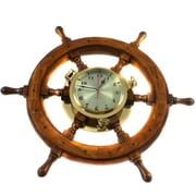Urban Designs 26'' Nautical Captain's Ship Wheel Porthole Wall Mount Clock