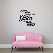 SweetumsWallDecals 3 Piece Some Girls are Born w/ Glitter Girls Wall Decal Set; Black