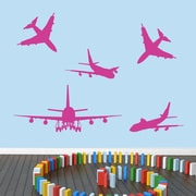 SweetumsWallDecals 5 Piece Airplane Wall Decal Set; Hot Pink