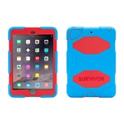 Griffin® GB36292-2 Survivor All-Terrain Polycarbonate/Silicone Protective Case for Apple iPad Mini 1/2/3, Red/Blue