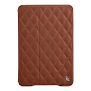 Jison Case® JS-IDM Quilted Genuine Leather Smart Carrying Case for Apple iPad Mini, Brown