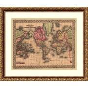 Amanti art Ward Maps 'Map of the World, 1867'  Art Print 21 x 18 in. Vintage Broze wood Frame (DSW1396000)