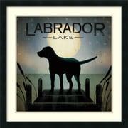 "Ryan Fowler 'Moonrise Black Dog - Labrador Lake' Framed Art Print 24"" x 24"" (DSW2970184)"