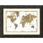 """Michael Mullan 'Gilded Map' Framed Art Print 32"""" x 24"""" (DSW1418811)"""