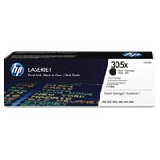 HP 305X (CE410XD) Black High Yield Original LaserJet Toner Cartridges, 2/Pack