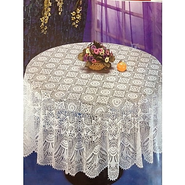 Nusso – Nappe de table crochet, diamètre de 70 po, blanc
