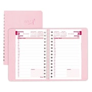 "Blueline® 2017 Daily Planner, 8"" x 5"", Pink Ribbon, Pink, Bilingual"