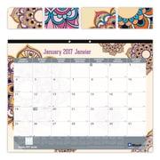 "Blueline® 2017 Monthly Desk Pad Calendar, 22"" x 17"", Mandala Design, Bilingual"