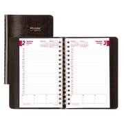 "Brownline® 2017 Daily Planner, 8"" x 5"", Soft Cover, Twin-Wire Binding, Black, English"