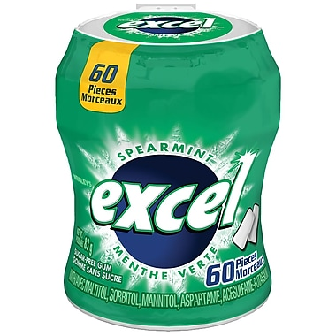 Excel Spearmint Sugar-Free Chewing Gum, 60/Pack