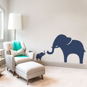 Wallums Wall Decor Mama And Baby Elephant Wall Decal; Silver Metallic