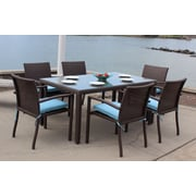 ElanaMar Designs Sonoma Outdoor Wicker 7 Piece Dining Set w/ Cushions; Spectrum Dove
