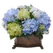 Floral Home Decor Elegant Silk Hydrangea Floral Arrangement with Snowballs