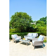 ManoPatio Weimar Outdoor Wicker Rattan 4 Piece Lounge Seating Group