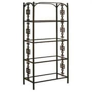 Grace Gothic 79'' Etagere Bookcase; Satin Black