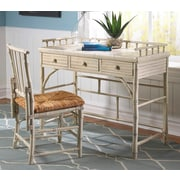 Kenian Coastal Chic Petite Writing Desk and Chair Set; White