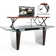 Halter Height Adjustable Desk; Cherry