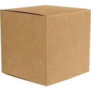 "LUX® Medium Cube Gift Boxes, 3 17/32"" x 3 9/16"" x 3 17/32"", 18 pt. Grocery Bag Brown (10Qty.) (MCUBE-GB-10)"
