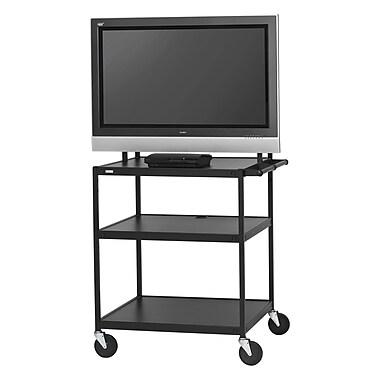 Bretford Basics TV Stand, 3 Shelves, Steel, Black, (FP42UL-E5BK)