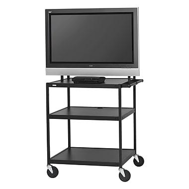 Bretford Basics TV Stand, 3 Shelves, Steel, Black, (FP42UL-P5BK)