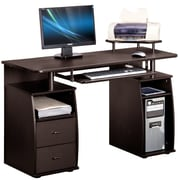 Merax Computer Desk with 2 Drawers, Keyboard Tray, Printer Platform and CPU Storage