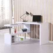 HomCom Rotating Computer Desk; White