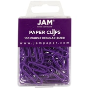 JAM Paper® Colored Standard Paper Clips, Small, Purple Paperclips, 100/pack (2183753)