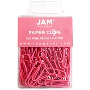 JAM Paper® Colored Standard Paper Clips, Small, Pink Paperclips, 100/pack (42186872)